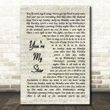 Stereophonics You're My Star Vintage Script Song Lyric Print