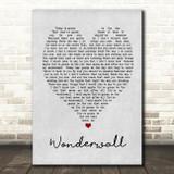 Wonderwall Oasis Grey Heart Song Lyric Quote Print