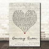 Abba Dancing Queen Script Heart Song Lyric Print