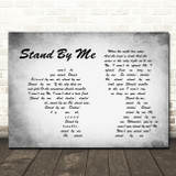 Ben E King Stand By Me Man Lady Couple Grey Song Lyric Quote Print