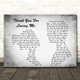 Bon Jovi Thank You For Loving Me Man Lady Couple Grey Song Lyric Quote Print