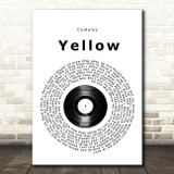 Coldplay Yellow Vinyl Record Song Lyric Print
