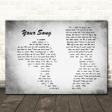 Elton John Your Grey Song Man Lady Couple Grey Song Lyric Print