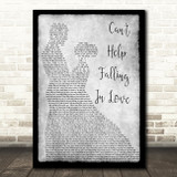 Elvis Presley Can't Help Falling In Love Grey Song Lyric Man Lady Dancing Print