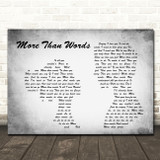 Extreme More Than Words Man Lady Couple Grey Song Lyric Print