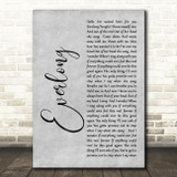 Foo Fighters Everlong Rustic Script Grey Song Lyric Quote Print