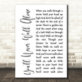 Gerry & The Pacemakers You'll Never Walk Alone White Script Song Lyric Print