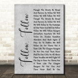 Glasgow Rangers Follow, Follow Rustic Script Grey Song Lyric Print