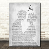 Goo Goo Dolls Iris Man Lady Bride Groom Wedding Grey Song Lyric Quote Print