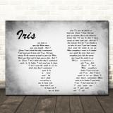 Goo Goo Dolls Iris Man Lady Couple Grey Song Lyric Quote Print