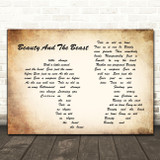 Celine Dion Beauty And The Beast Man Lady Couple Song Lyric Quote Print