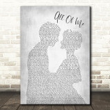 John Legend All Of Me Grey Song Lyric Man Lady Bride Groom Wedding Print