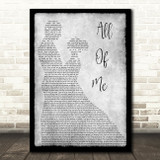 John Legend All Of Me Grey Song Lyric Man Lady Dancing Quote Print