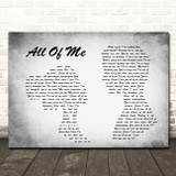 John Legend All Of Me Man Lady Couple Grey Song Lyric Quote Print
