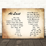 Etta James At Last Man Lady Couple Song Lyric Quote Print