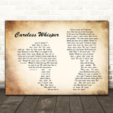 George Michael Careless Whisper Man Lady Couple Song Lyric Quote Print