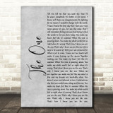 Kodaline The One Rustic Script Grey Song Lyric Quote Print