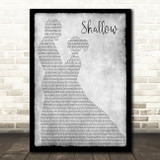 Lady Gaga & Bradley Cooper Shallow Man Lady Dancing Grey Song Lyric Print