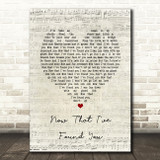 Liam Gallagher Now That I've Found You Script Heart Song Lyric Print