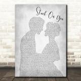 Lionel Richie Stuck On You Man Lady Bride Groom Wedding Grey Print