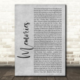 Maroon 5 Memories Grey Rustic Script Song Lyric Print