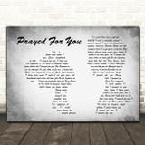 Matt Stell Prayed For You Grey Man Lady Couple Song Lyric Print
