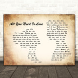 The Beatles All You Need Is Love Man Lady Couple Song Lyric Quote Print