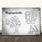 Nat King Cole Unforgettable Man Lady Couple Grey Song Lyric Print