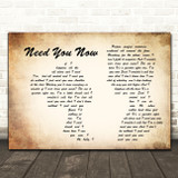 Lady Antebellum Need You Now Man Lady Couple Song Lyric Quote Print
