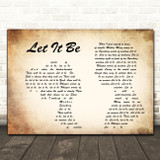 The Beatles Let It Be Man Lady Couple Song Lyric Quote Print