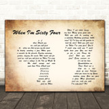 The Beatles When I'm Sixty Four Man Lady Couple Song Lyric Quote Print