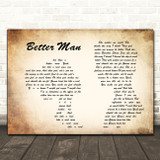 Paolo Nutini Better Man Man Lady Couple Song Lyric Quote Print