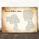 Randy Travis Forever & Ever, Amen Man Lady Couple Song Lyric Quote Print