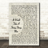 Rick Astley It Would Take A Strong Strong Man Vintage Script Song Lyric Print