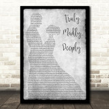 Savage Garden Truly Madly Deeply Man Lady Dancing Grey Song Lyric Quote Print