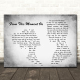 Shania Twain From This Moment On Man Lady Couple Grey Song Lyric Quote Print