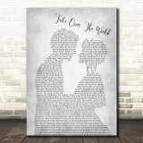 The Courteeners - Take Over The World Grey Song Lyric Man Lady Bride Groom Print