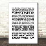 Goo Goo Dolls Iris Song Lyric Quote Print