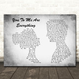 The Real Thing You To Me Are Everything Man Lady Couple Grey Song Lyric Print