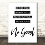 Amy Winehouse You Know I'm No Good Song Lyric Print