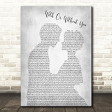 U2 With Or Without You Man Lady Bride Groom Wedding Grey Song Lyric Quote Print
