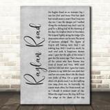 Van Morrison Raglan Road Grey Rustic Script Song Lyric Print