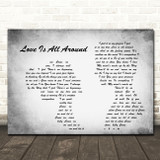 Wet Wet Wet Love Is All Around Man Lady Couple Grey Song Lyric Quote Print