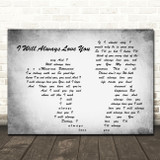 Whitney Houston I Will Always Love You Man Lady Couple Grey Song Lyric Print