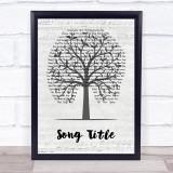 Any Song Custom Music Script Tree Personalised Lyrics Print