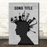 Any Song Custom Musical Instrument Mohawk Personalised Lyrics Print