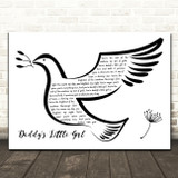 Michael Bolton Daddy's Little Girl Black & White Dove Bird Song Lyric Quote Music Print
