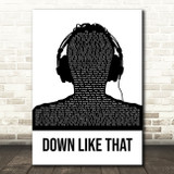 KSI Down Like That Black & White Man Headphones Song Lyric Quote Music Print