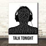 Oasis Talk Tonight Black & White Man Headphones Song Lyric Quote Music Print