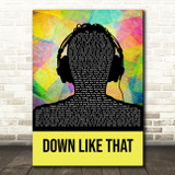 KSI Down Like That Multicolour Man Headphones Song Lyric Quote Music Print